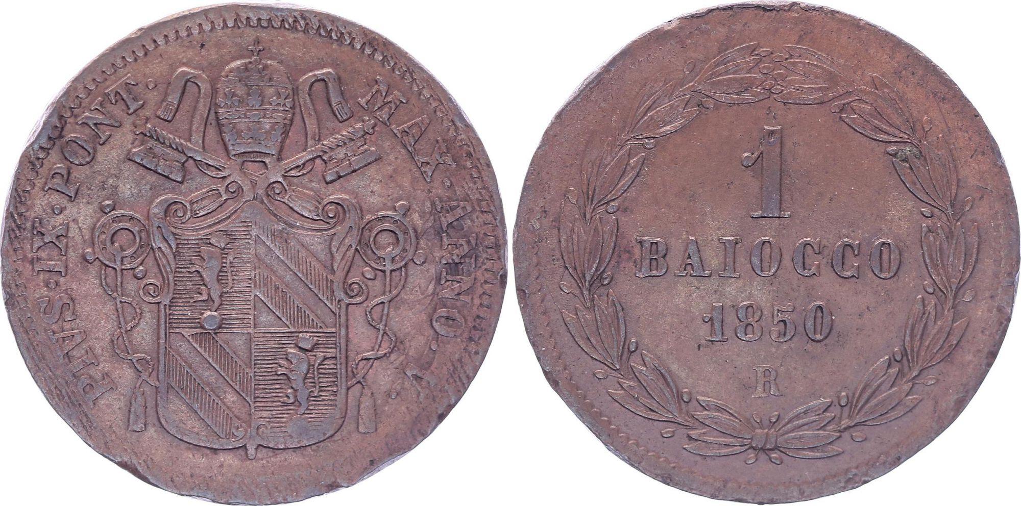 Etat Pontifical 1 Baiocco  - Pivs IX - 1850 R V