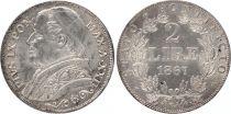 Etat Pontifical 2 Lire Pie IX - XXII - 1867 R Rome