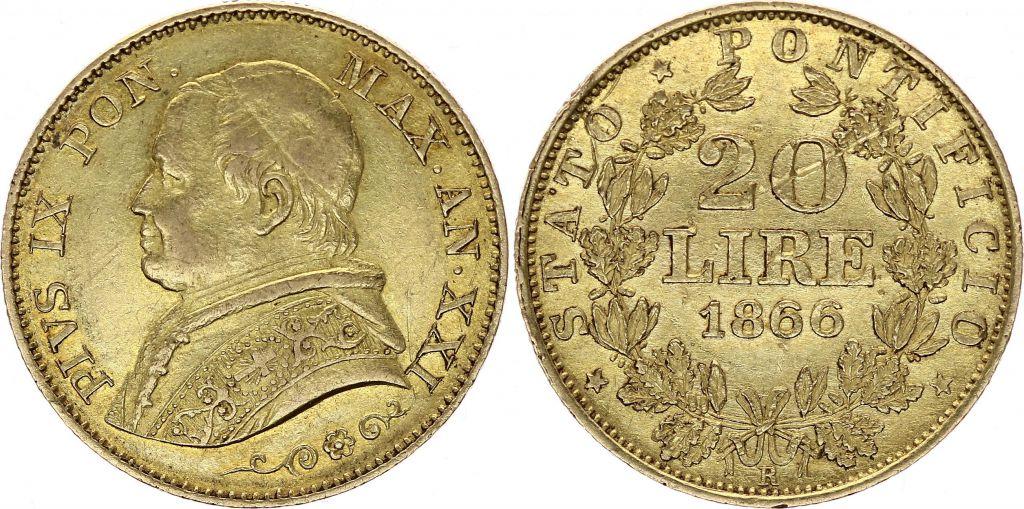 Etat Pontifical 20 Lire Pie IX - XXI - 1867 R Rome Or