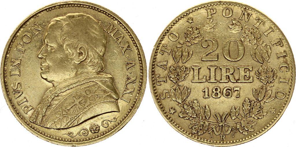 Etat Pontifical 20 Lire Pie IX - XXII - 1867 R Rome Or