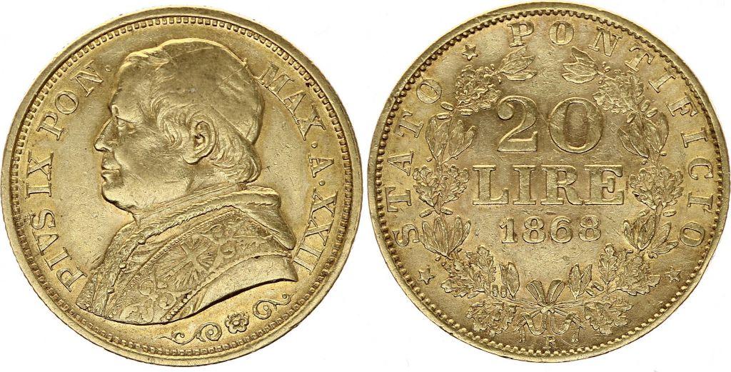 Etat Pontifical 20 Lire Pie IX - XXIII - 1868 R Rome -  Or