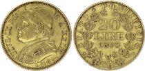 Etat Pontifical 20 Lire Pie IX - XXIII - 1869 R Rome Or