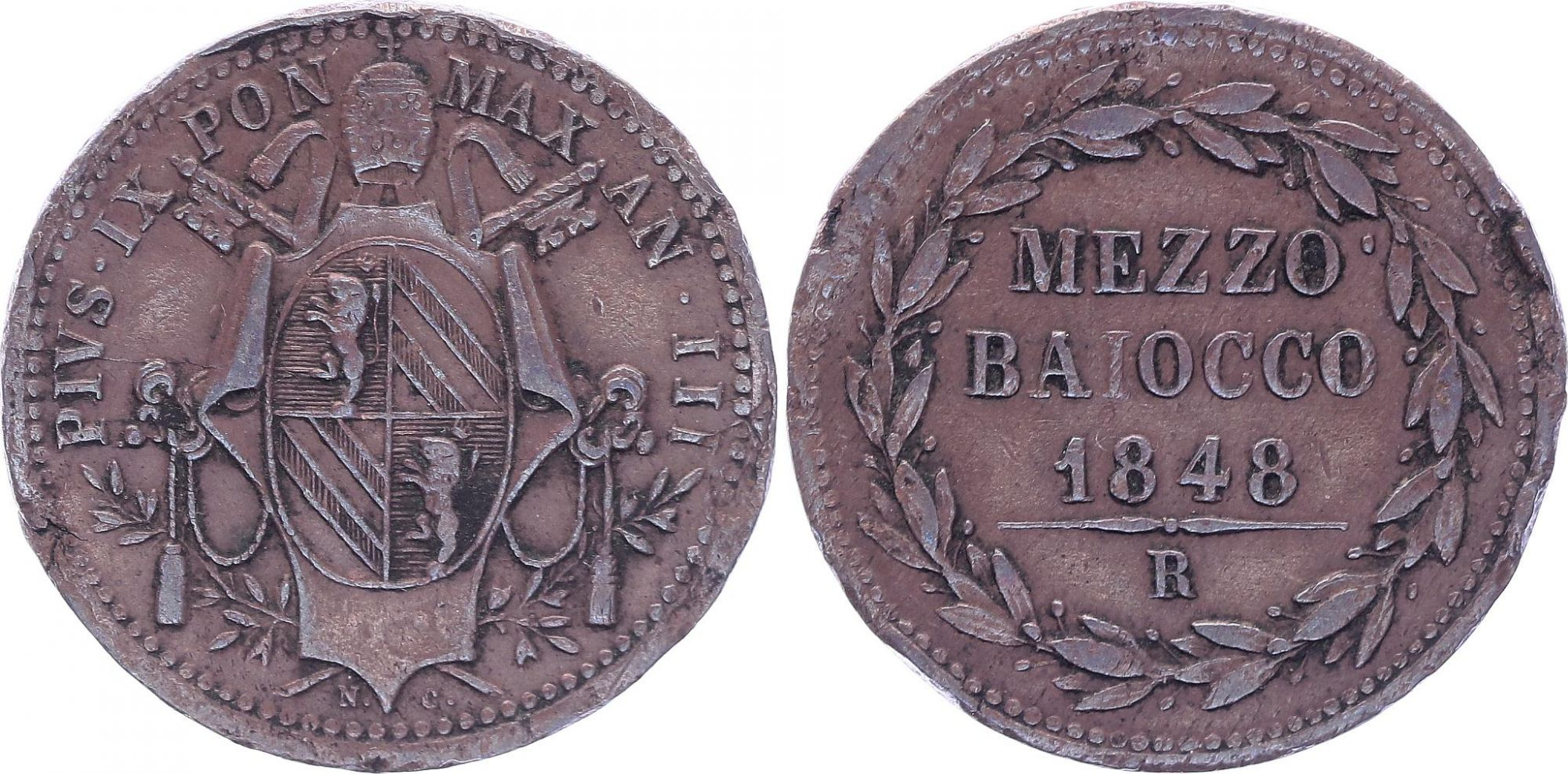 Etat Pontifical Mezzo Baiocco - Pivs IX - 1848 R IIII