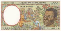Etats de l\'Afrique Centrale 1000 Francs 1993 - Jeune homme, rivère - F = Rép centrafricaine