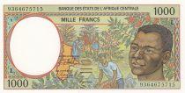 Etats de l\'Afrique Centrale 1000 Francs 1993 - Jeune homme, rivière  - L = Gabon