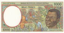 Etats de l\'Afrique Centrale 1000 Francs 1993 - Jeune homme, rivière  - N = Guinée équatoriale
