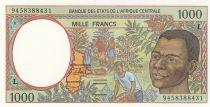 Etats de l\'Afrique Centrale 1000 Francs 1994 - Jeune homme, rivère - L = Gabon