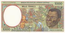 Etats de l\'Afrique Centrale 1000 Francs 1994 - Jeune homme, rivère - P = Tchad