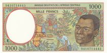 Etats de l\'Afrique Centrale 1000 Francs 1994 - Jeune homme, rivière  - E = Cameroun