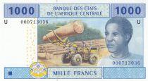 Etats de l\'Afrique Centrale 1000 Francs 2002 - Jeune homme, exploitation forestière, culture, mouton  - U = Cameroun