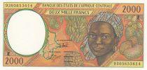 Etats de l\'Afrique Centrale 2000 Francs 1993 - Jeune femme, fruits, scène portuaire, navire - E = Cameroun