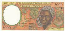 Etats de l\'Afrique Centrale 2000 Francs 1993 - Jeune femme, fruits, scène portuaire, navire - F = Rep centrafricaine