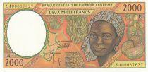 Etats de l\'Afrique Centrale 2000 Francs 1994 - Jeune femme, fruits, scène portuaire, navire - E = Cameroun