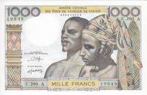 Etats de l´Afrique de l´Ouest 1000 Francs Couple africains - Fleuve (dates et alphabets variés)