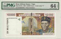 Etats de l´Afrique de l´Ouest 10000 Francs, BCEAO - Pont de liane - 1995  - T Togo - PMG 64 EPQ