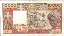 Etats de l´Afrique de l´Ouest 10000 Francs Tissage  - 1975