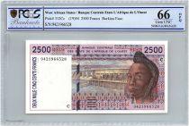 Etats de l´Afrique de l´Ouest 2500 Francs Burkina Faso - Barrage - Cacao - 1994 - PCGS UNC 66 OPQ