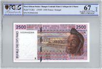Etats de l´Afrique de l´Ouest 2500 Francs Sénégal - Barrage - Cacao - 1993 - PCGS UNC 67 OPQ