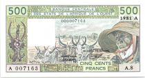 Etats de l´Afrique de l´Ouest 500 Francs Côte d\'Ivoire - Veil homme et zébus - 1981 Série A.8 - 7163