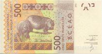 Etats de l´Afrique de l´Ouest 500 Francs Masque - Hippopotames