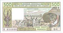 Etats de l´Afrique de l´Ouest 500 Francs Togo -Vieil homme, zébus - 1985 Série S.14 - 342603973