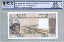Etats de l´Afrique de l´Ouest 5000 Francs Mali - Pirogues de pêche - 1991 - PCGS UNC 66 OPQ