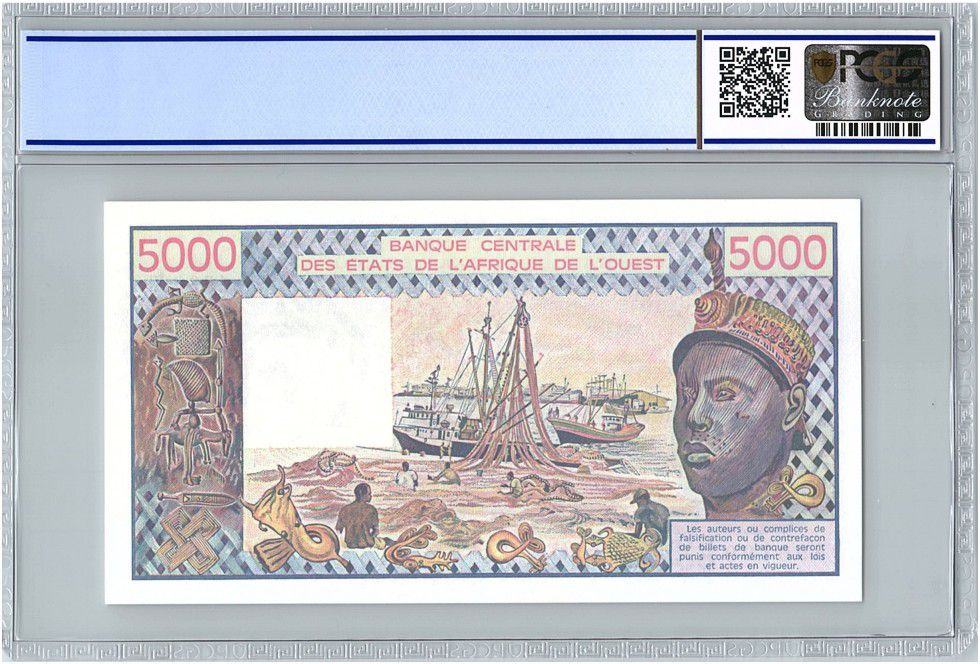 Etats de l´Afrique de l´Ouest 5000 Francs Togo - Pirogues de pêche - 1990 - PCGS UNC 64 OPQ