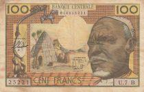 Etats de l\'Afrique Equatoriale 100 Francs ND1963 - Africain, case, Eléphants - Série U.7 B = REP. CENTRAFRICAINE