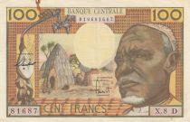 Etats de l\'Afrique Equatoriale 100 Francs ND1963 - Africain, case, Eléphants - Série X.8 D = GABON