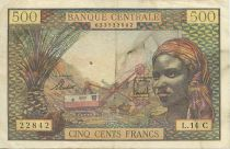 Etats de l´Afrique Equatoriale 500 Francs Femme, Mine - Chameaux - 1963