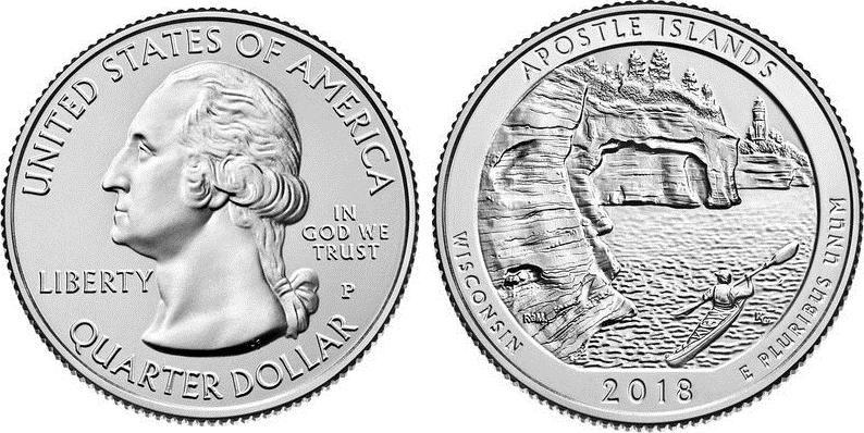 Etats Unis d\'Amérique 1/4 Dollar Apostle Island - P Philadelphie - 2018