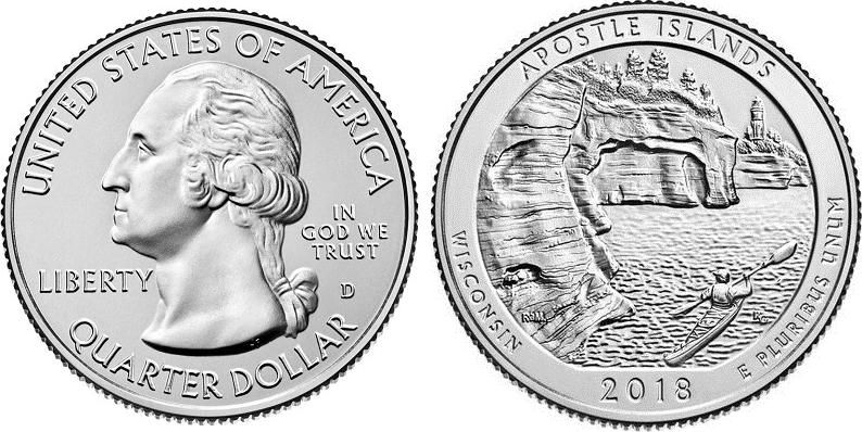 Etats Unis d\'Amérique 1/4 Dollar Pictured Rocks - D Denver - 2018