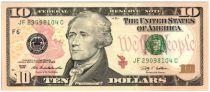 Etats Unis d´Amérique 10 Dollars Hamilton - Batiment du Trésor 2009 F6 Atlanta