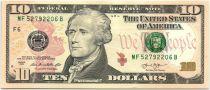 Etats Unis d´Amérique 10 Dollars Hamilton - Batiment du Trésor 2013 F6 Atlanta