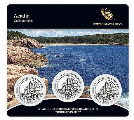 Etats Unis d´Amérique FDC.2012 Coffret 3 x 1/4 $ Acadia Park