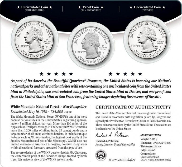 Etats Unis d´Amérique FDC.2013 Coffret 3 x 1/4 $ White Mountain