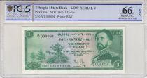 Ethiopia 1 Dollar -  Hailé Sélassié  - 1961 - Serial A.1 n°000094 - PCGS 66 OPQ