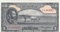 Ethiopia 1 Dollar Haile Selassié - Laboureur - 1945 - AU - P.12c