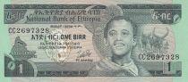 Ethiopie 1 Birr 1976 - Jeune garçon, Zébus, Chuttes d\'eau