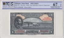 Ethiopie 1 Dollar Haile Selassié - Laboureur - 1945 - PCGS 67 OPQ