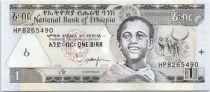 Etiopia 1 Birr - Young man - Longhorns - Map of Ethiopia - 2008