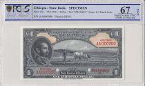 Etiopia 1 Dollar Haile Selassie - 1945 - PCGS 67 OPQ
