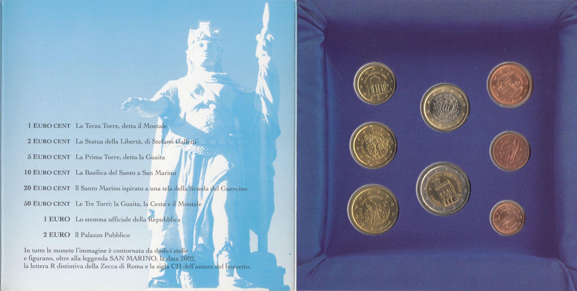 Europe BU Set San Marino 2002 - 8 Coins in Euro