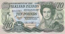 Falkland Islands 10 Pounds, Elizabeth II, penguins - Village  - 2011