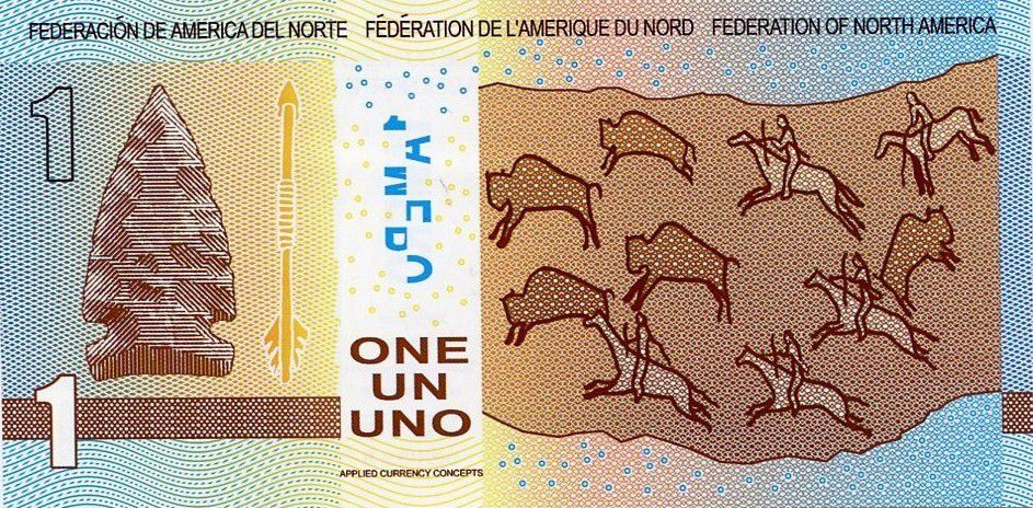 Federation of North America 1 Amero, fantasy note Rock painting - Bison - 2015