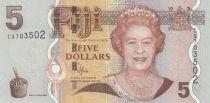 Fidji 5 Dollars - Elisabeth II - Iguane, fleur - 2012