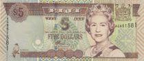 Fiji 5  Dollars Elizabeth II - Airport, airplanes 2002