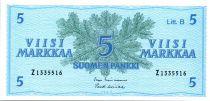 Finland 5 Markkaa Conifer branchs - Arms - 1963