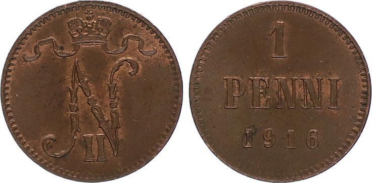 Finlande 1 Penni - Monogramme Nicolas II Tsar de Russie - années varéies 1895-1916 - TTB