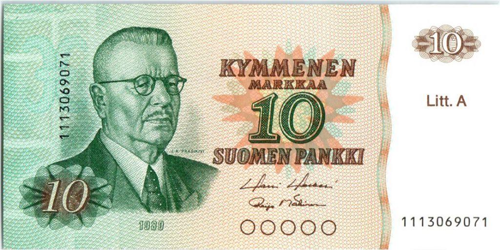 Finlande 10 Markkaa Juho Kusti Paasikivi - Lion - Litt. A - 1980